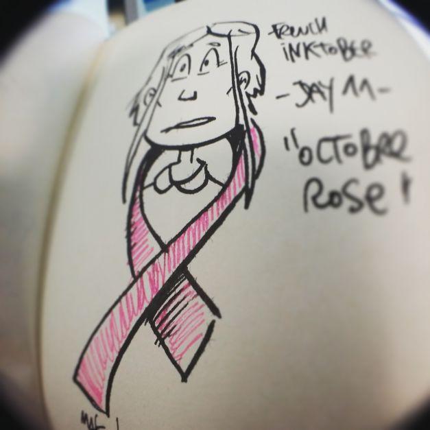 Inktober #11 - Octobre rose (dessiné à l'encre rose) cancer du sein